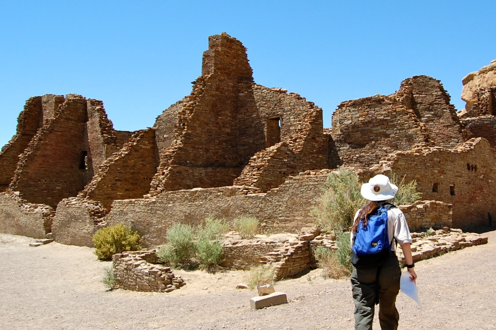 Our tour guide, Briana Franks, leads us down the footpath to the ruins of Pueblo Bonito.