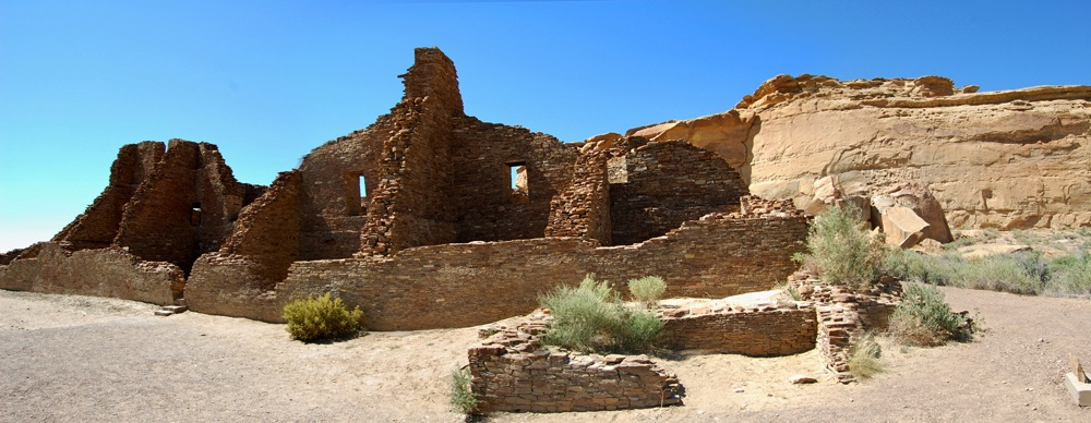 Pueblo Bonito panoramic, created by stitching together several photographs.