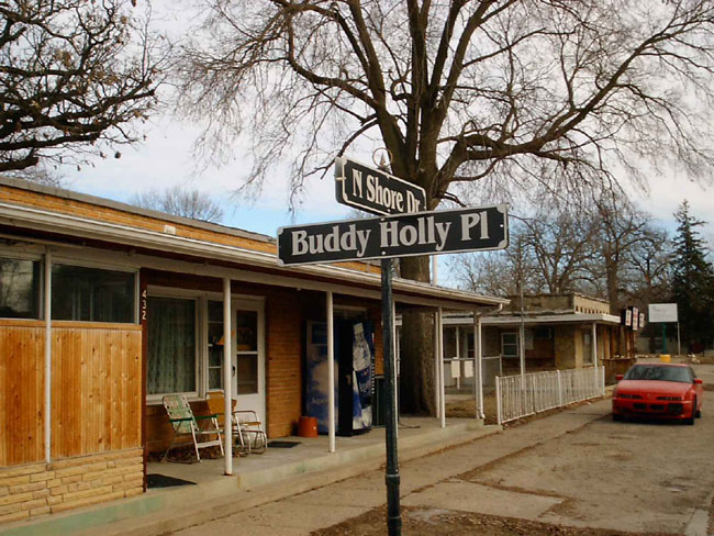 """""""The last place Buddy Holly, Richie Valens and The Big Bopper played was at the Surf Ballroom in Clear Lake, Iowa. After the concert their plane crashed shortly after leaving the Mason City airport. In honor of Buddy Holly, Clear Lake named a street after him."""""""