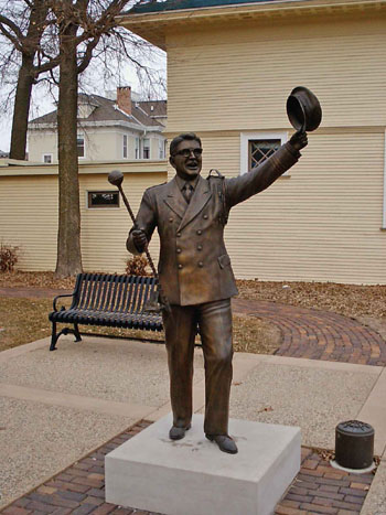 """Here is a close up of the Music Man statue."""