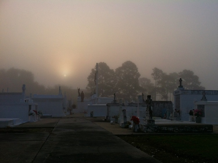 Foggy morning. St. Mary's Nativity Cemetery in Raceland.