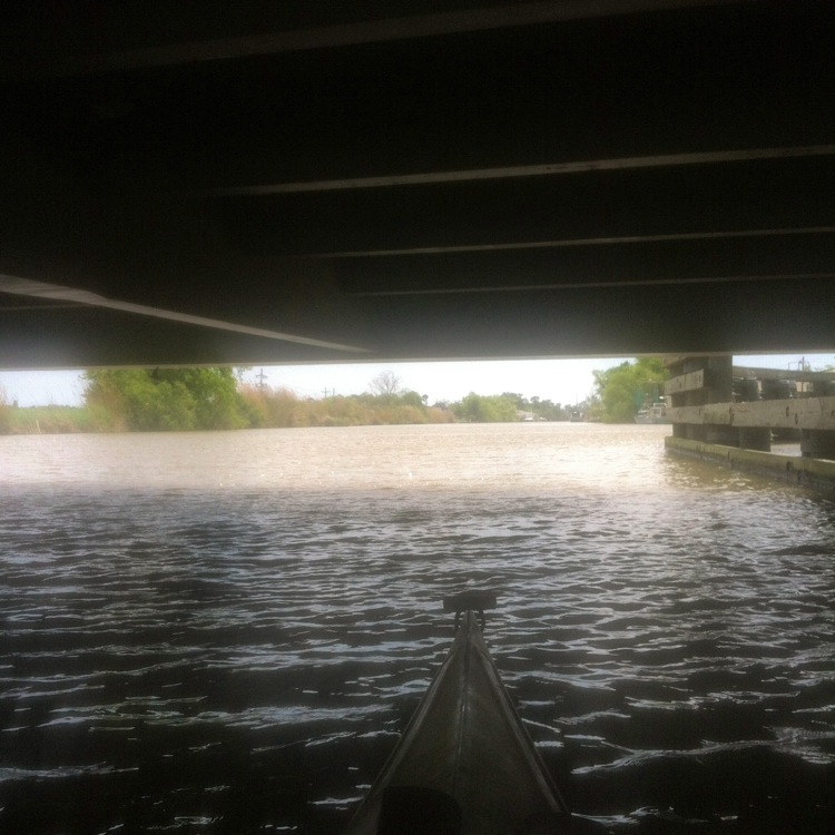 Under the Cut Off pontoon bridge.
