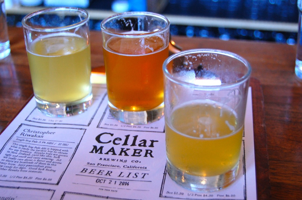 Having a flight at Cellar Maker Brewing Co. - best beer we had all week was the Mo' Motueka IPA.