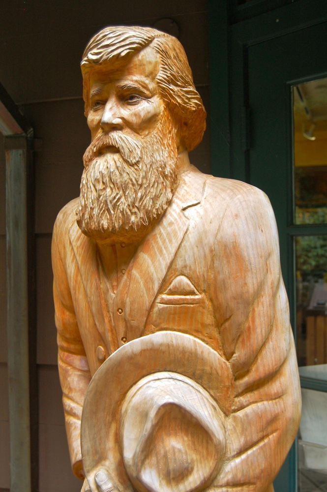 John Muir carved out of wood